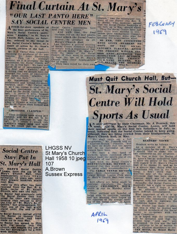 Lewes, Nevill 1958 Feb, Apr, St Mary's Church Hall Last social occasions