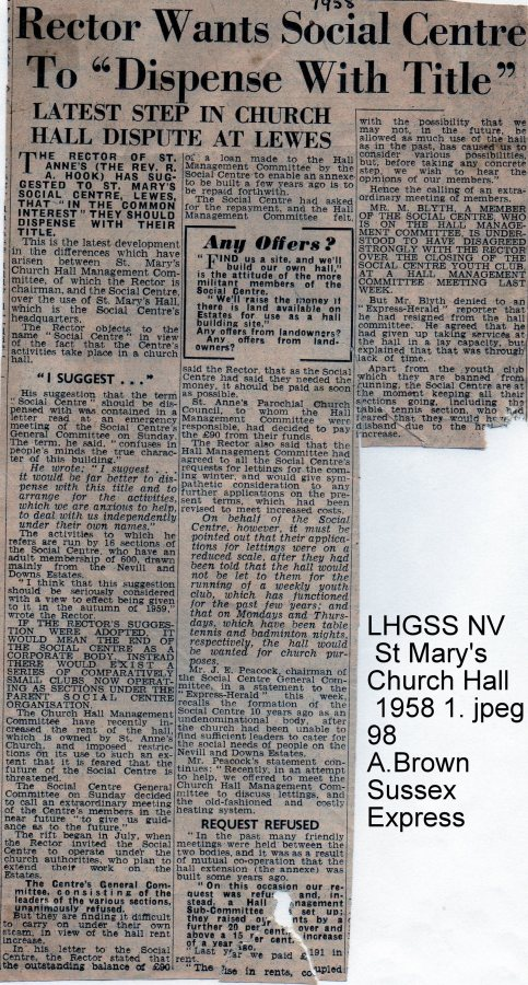 Lewes, Nevill 1958 issue about name St Mary's Church Hall Social Centre
