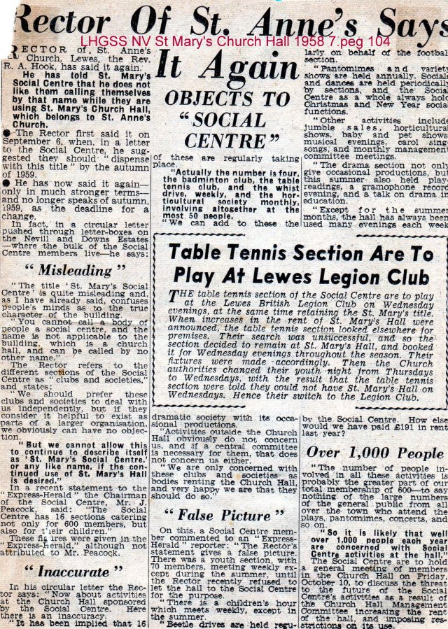 Lewes, Nevill 1958 Rector objects to social centre at St Mary's Church Hall