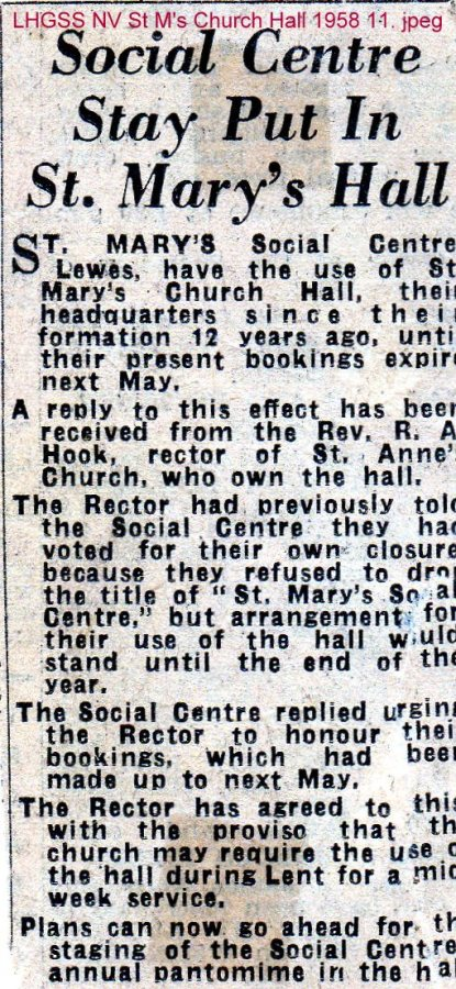 Lewes, Nevill 1958 St Mary's Social Centre stays in Church Hall