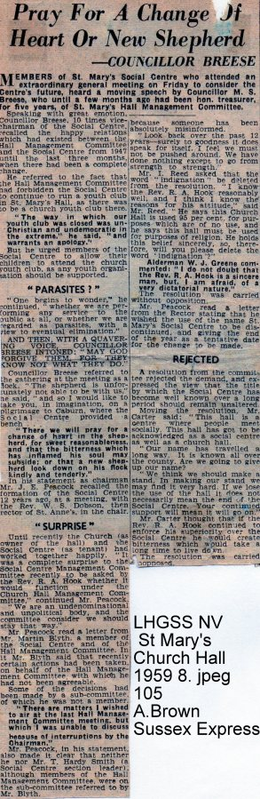 Lewes, Nevill 1959 Controversy over St Mary's Church Hall