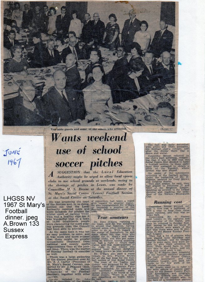 Lewes, Nevill 1967 St Mary's Football dinner