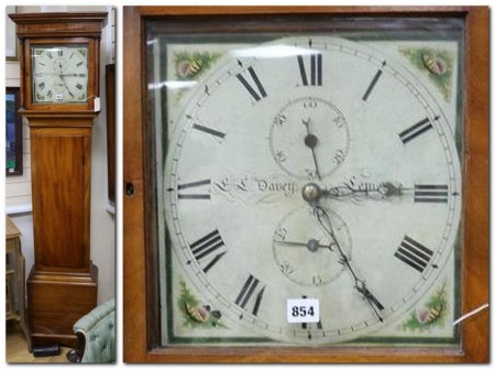 Davey of Lewes longcase clock and clock face