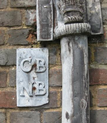 Malling House Boughey downpipe initials