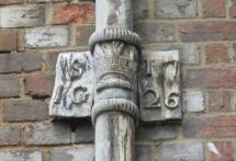 Malling House John Spence downpipe initials and date