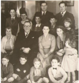 Nicholl family, 1958 photo taken at Castle Lodge, Lewes