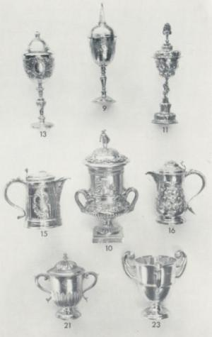Page showing silver items from L.S. Davey's book on Lewes Civic Insignia and Plate, 1967