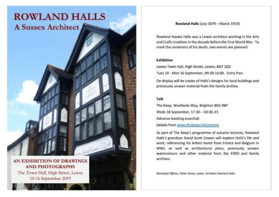 Rowland Halls exhibition and talk, September 2019