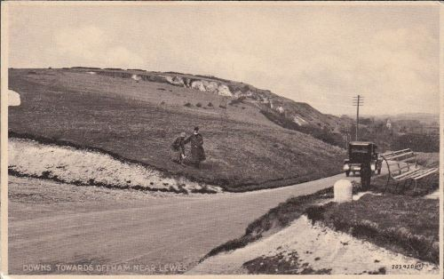 Downs towards Offham near Lewes, postcard