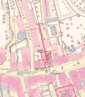 146-147 High Street, Lewes, at Westgate, archaeology, map