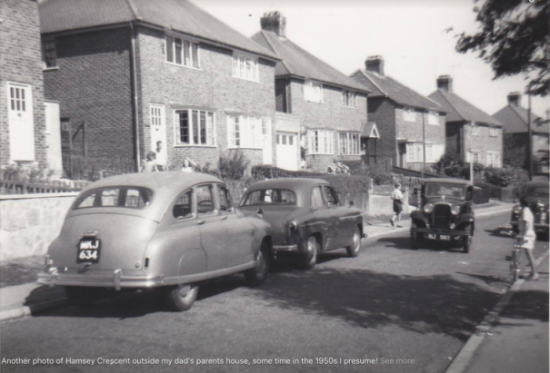 Cars in Hamsey Crescent, Lewes, 1950s