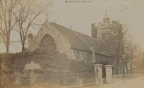 Southover Church from Southover High Street, postcard posted 1909