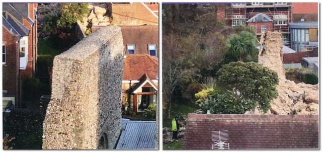 Lewes Castle curtain wall before and after collapse Nov 2019