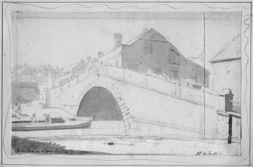 Lewes Bridge field sketch 1790, possibly by Michael Rooker