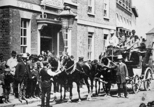 Coach leaving Star Inn, Lewes, Victorian photograph