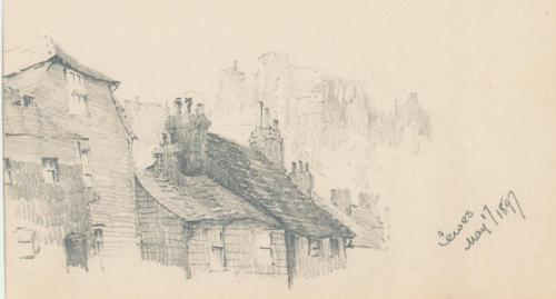 Houses on Garden Street, Lewes, J C Postans drawing 1897