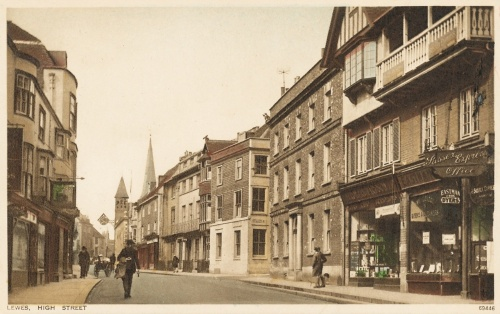 Lewes High Street early 1920s postcard
