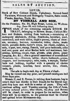 Boore closing down sale auction advertisement 1839