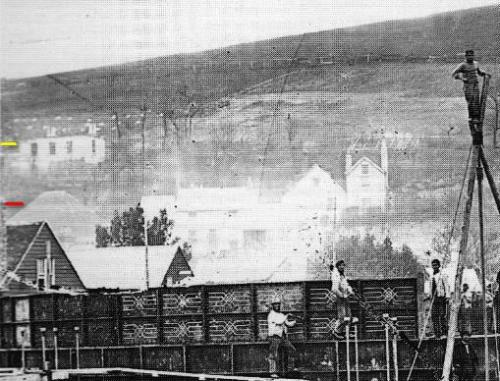 Gas holder construction, Lewes c. 1869 - crop