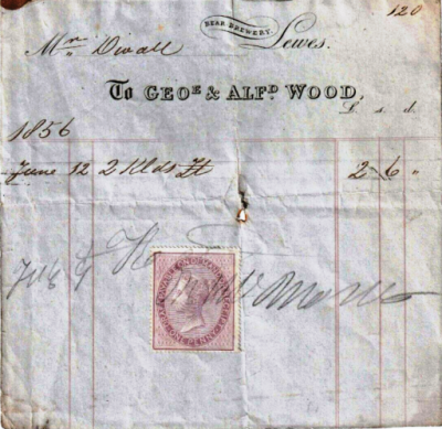 Receipt to Mr Divall from the Bear Brewery, stamped 9 July 1856