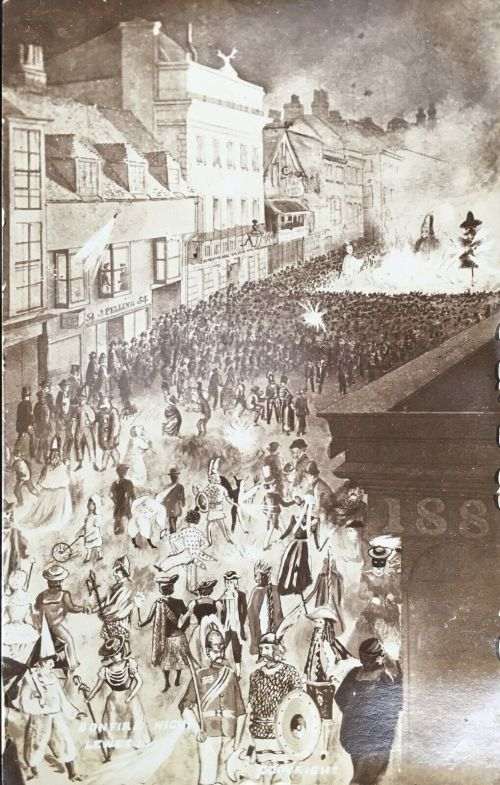 Edwardian Bonfire in Lewes High Street