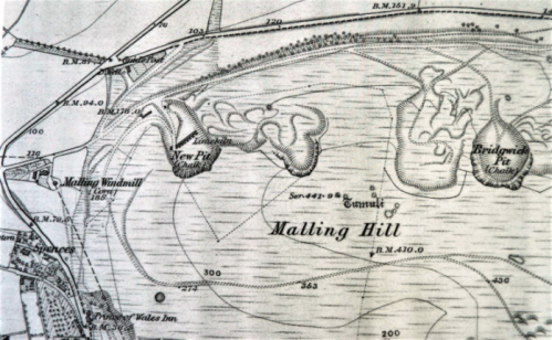 Malling Hill, Lewes OS 6 inch map, 1873