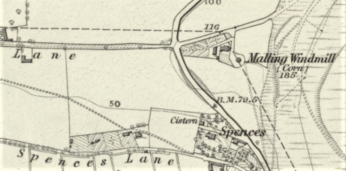 Mill Road, Lewes, map, OS 6 inch 1878
