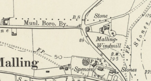 Mill Road, Lewes, map, OS 6 inch 1898
