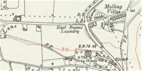 Mill Road, Lewes, map, OS 6 inch 1930