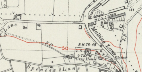 Mill Road, Lewes, map, OS 6 inch 1938