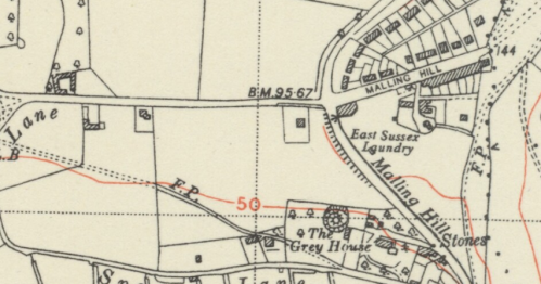 Mill Road, Lewes, map, OS 6 inch 1950