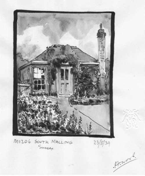 Bungalow ex South Malling Mill, 1939 sketch by Wood