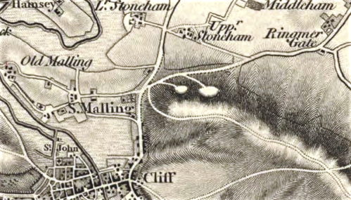 Extract of 1 inch OS Map, First Series, Lewes, 1813