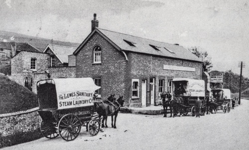 Lewes Sanitary Steam Laundry, postcard posted 1911