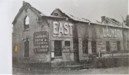 Lewes Sanitary Stream Laundry building after the fire, 1941