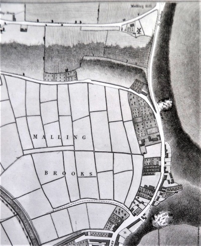 Mill Road, Lewes, map, William Figg 1824 extract