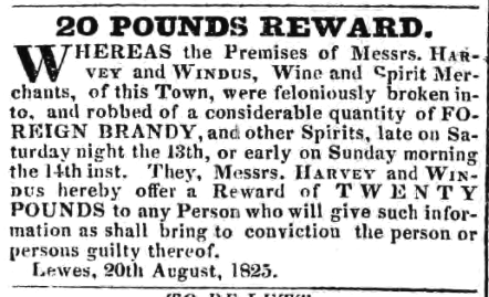 Theft of brandy from Harver and Windus, Lewes, 1825