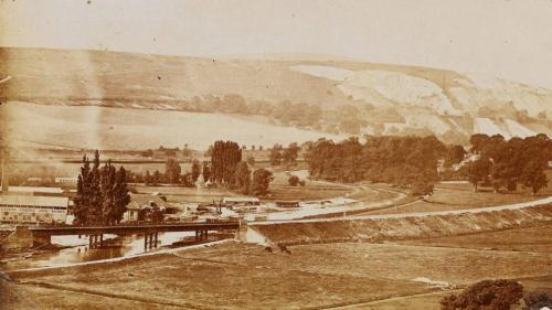 View across Malling Brooks towards Offham Chalkpits, postcard