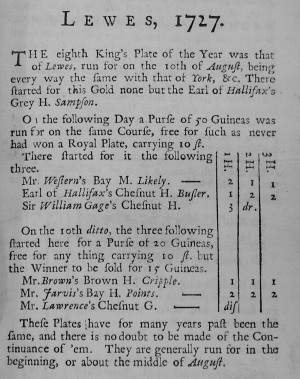 Lewes 1727 page from Racing Calendar