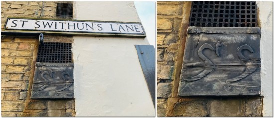 St Swithuns Lane, Lewes road sign and St S sign