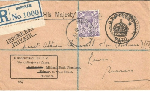 Tax letter envelope to Albion Russell & Son, Lewes, 1927