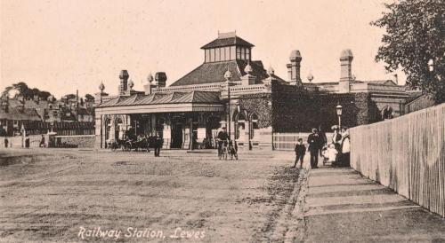 Lewes railway station, Carlton Series postcard, postmarked 1918