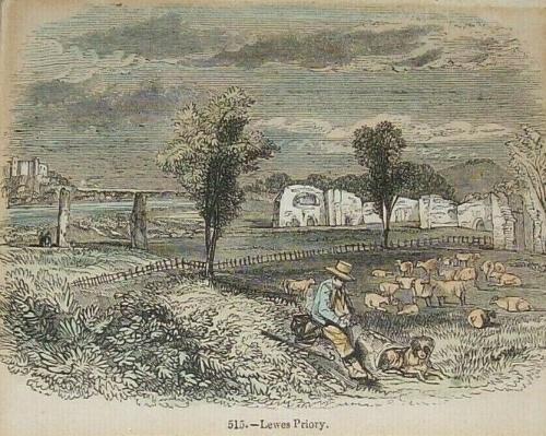 Lewes Priory 1845 print