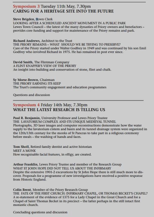 Lewes Priory Trust Symposia programme 2