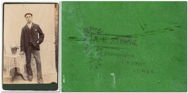Photograph of young man, by A.E. Streng, Lewes, and reverse