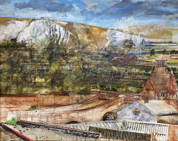 The Downs viewed from Lewes Railway Station, by Nicholas Johnson