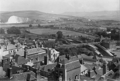 View from Lewes Castle, photograph by Frank Brough, 1930s