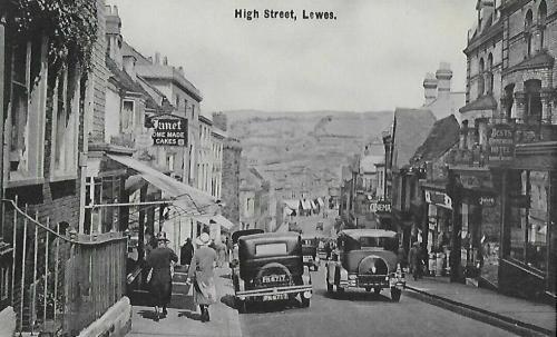 Traffic on Lewes High Street postcard