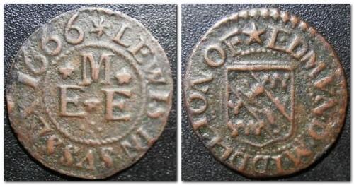 Edmund Middleton's trade token, front, reverse