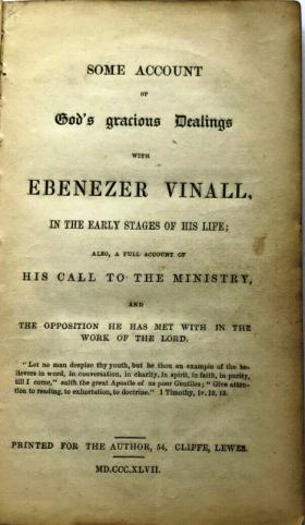 Ebenezer Vinall, manifesto 1847